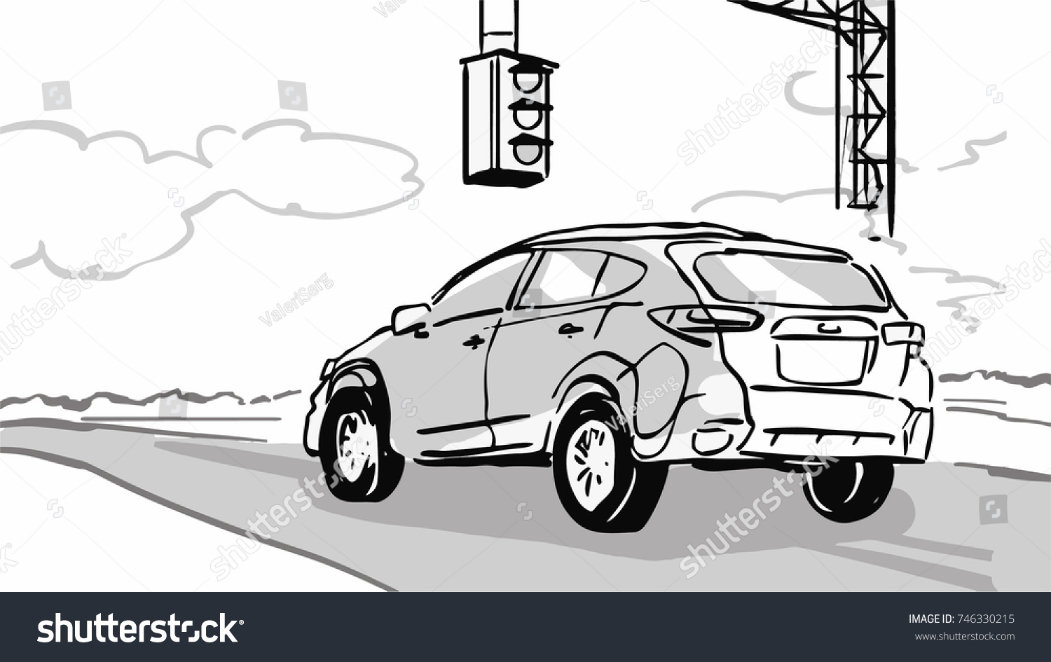 Car Stopped Traffic Light On Country Stock Vector 746330215 ...