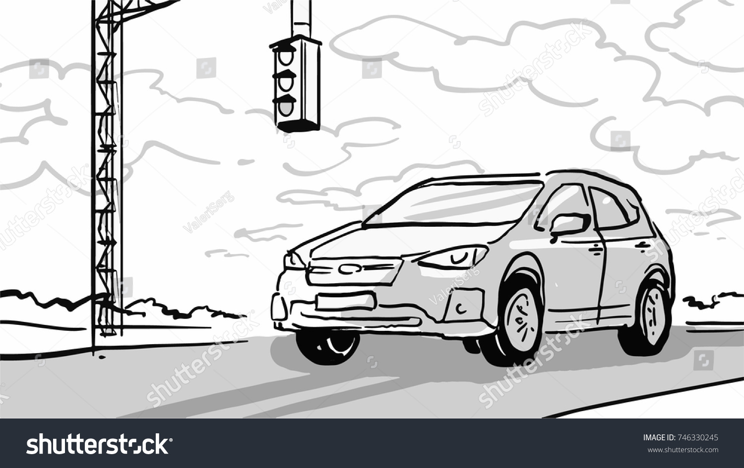 Car Stopped Traffic Light On Country Stock Vector 746330245 ...