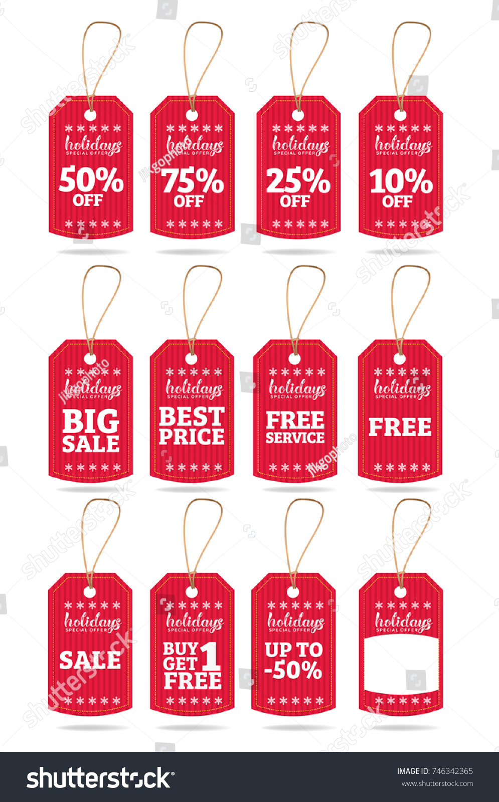 Holidays Special Offer Sale Tag Discount Symbol Retail Sticker Sign Price Set Of 12