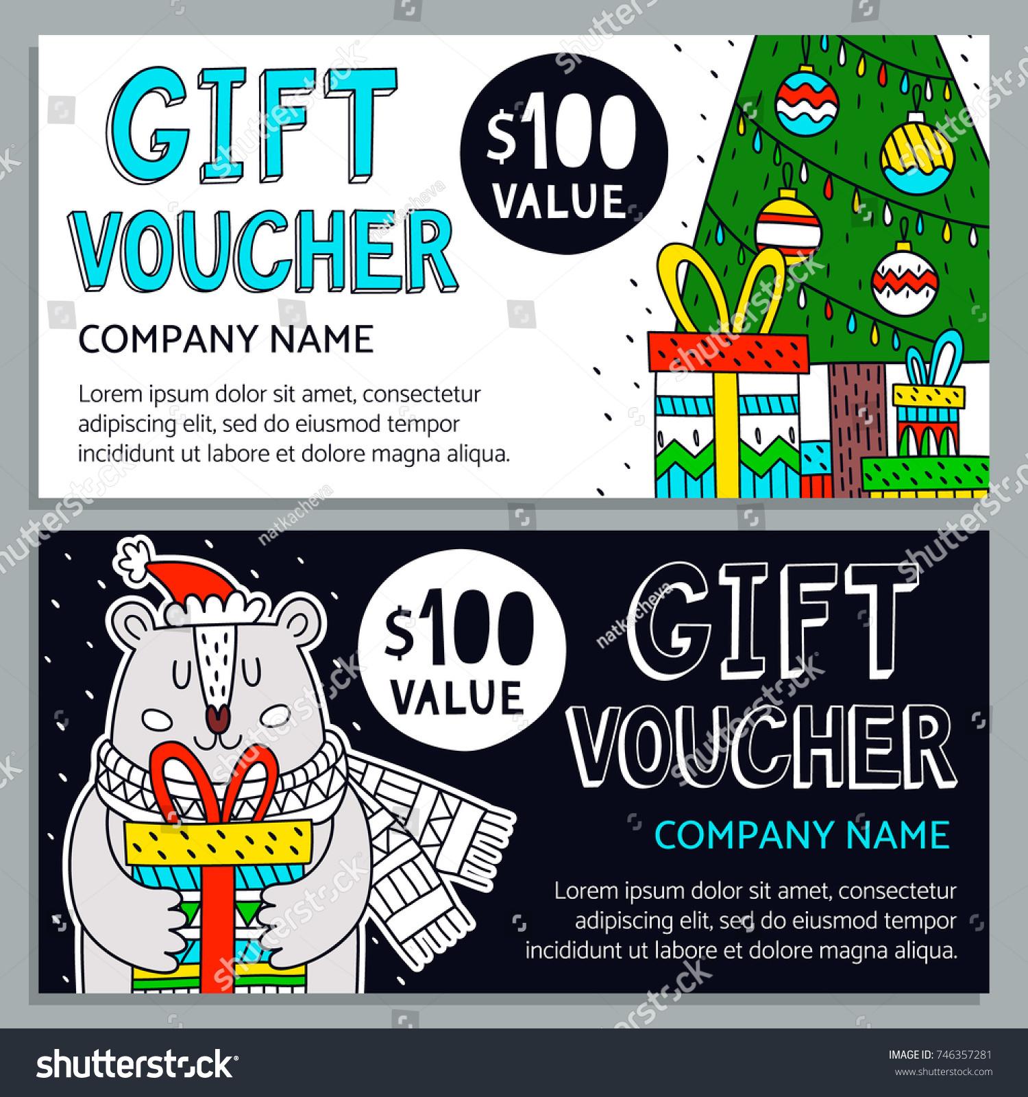 Vector Gift Voucher Template Gift Box Stock Vector 746357281 ...