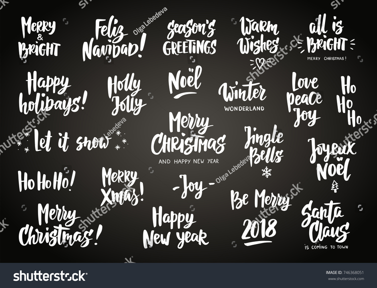 Set Holiday Greeting Quotes Wishes Hand Stock Vector Royalty Free