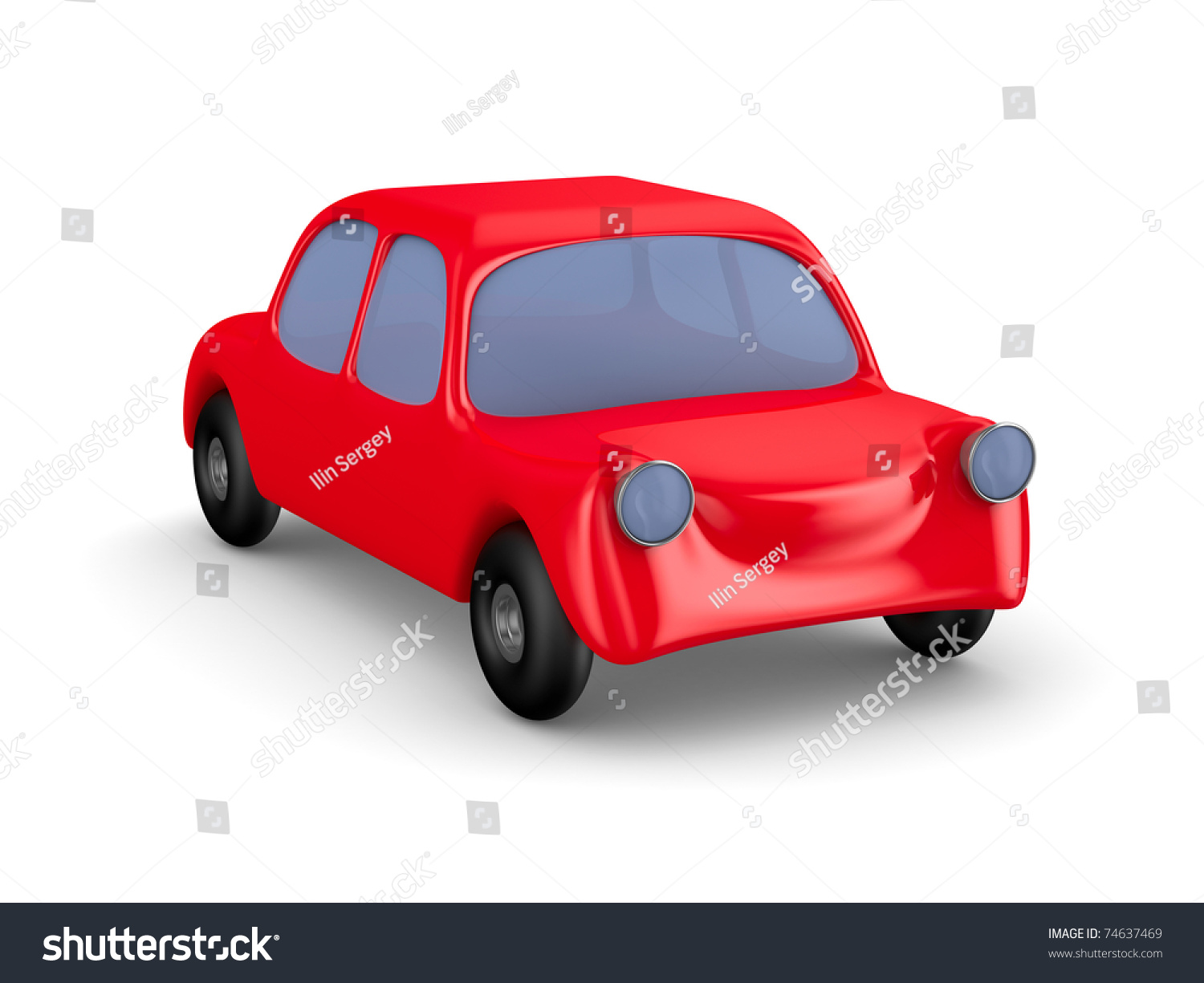 Red Car On White Background Isolated Stock Illustration ...