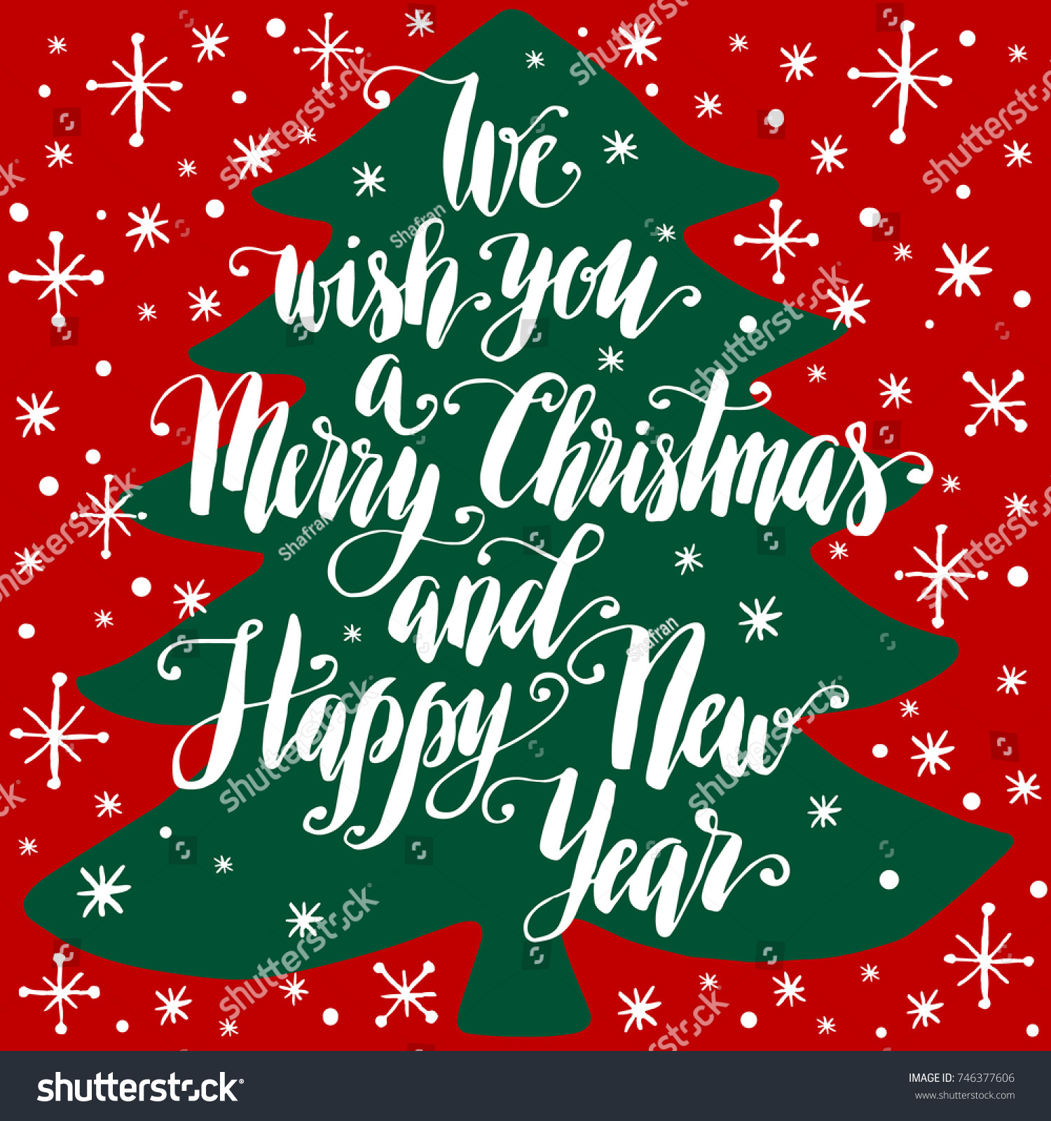 we wish you a merry christmas and happy new year hand written lettering on silhouette