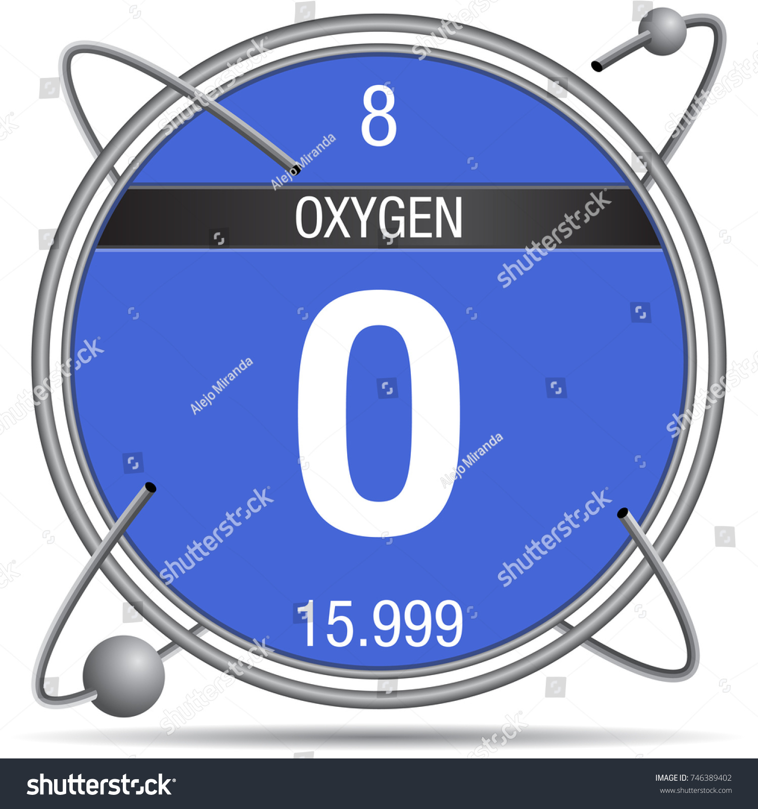 Oxygen symbol inside metal ring colored stock vector 746389402 oxygen symbol inside a metal ring with colored background and spheres orbiting around element number buycottarizona Choice Image