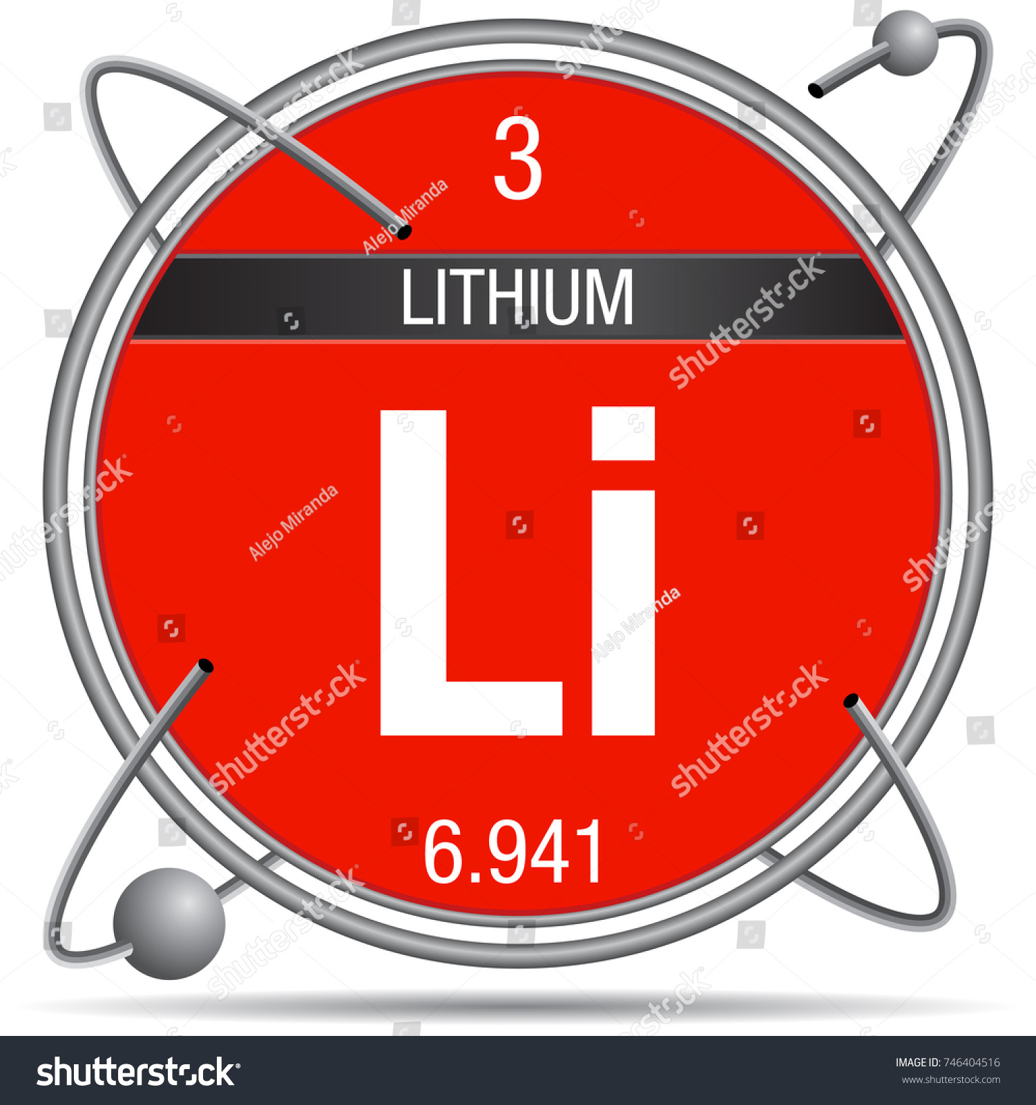 Lithium symbol inside metal ring colored stock vector 746404516 lithium symbol inside a metal ring with colored background and spheres orbiting around element number buycottarizona