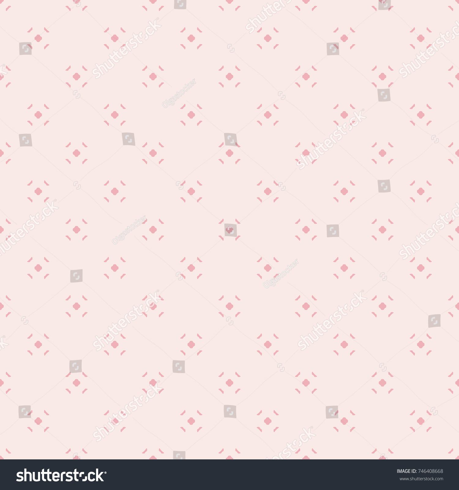Cute Vintage Minimalist Pattern For Girls In Trendy Pink Color Palette Vector Abstract Geometric Seamless