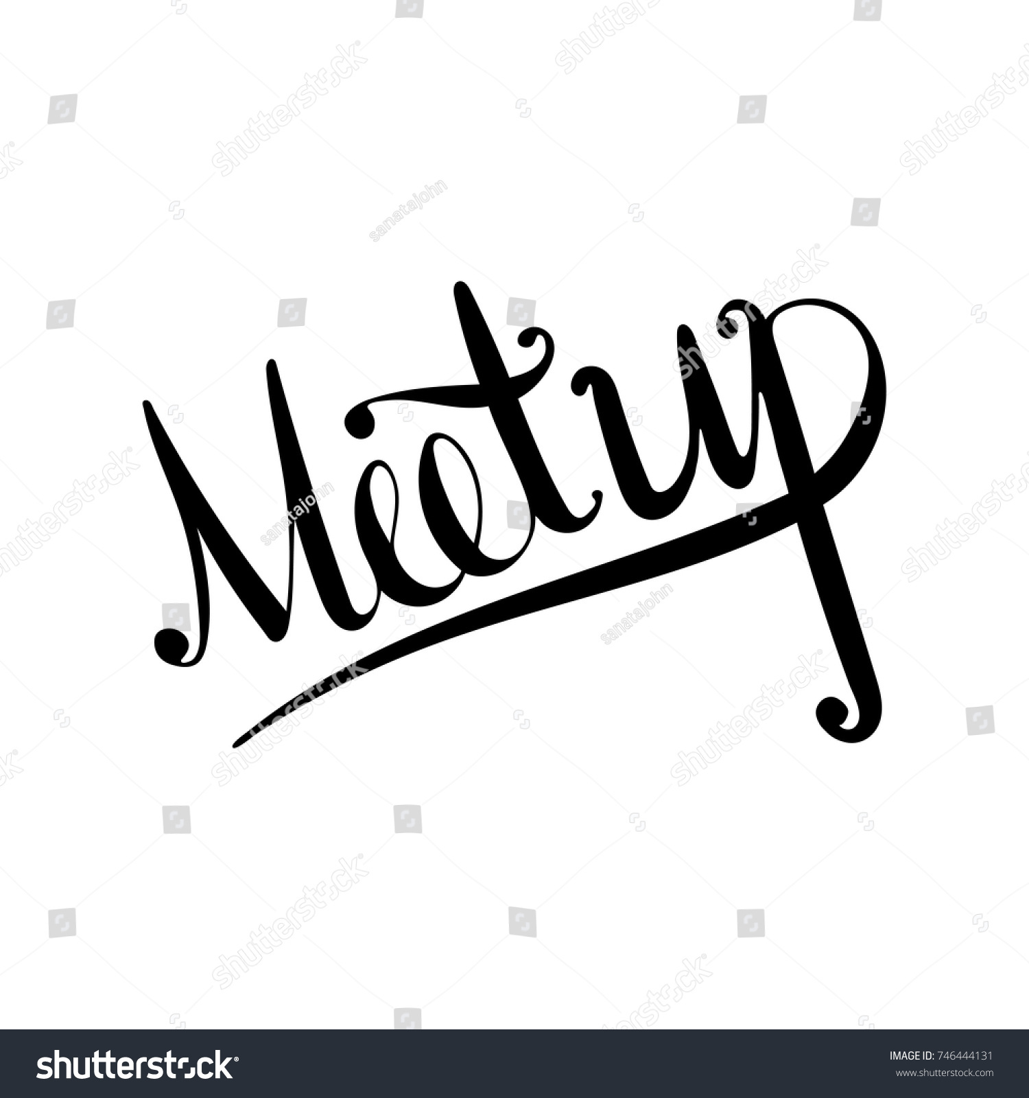 Lettering word meetup doodle sketch playful stock vector