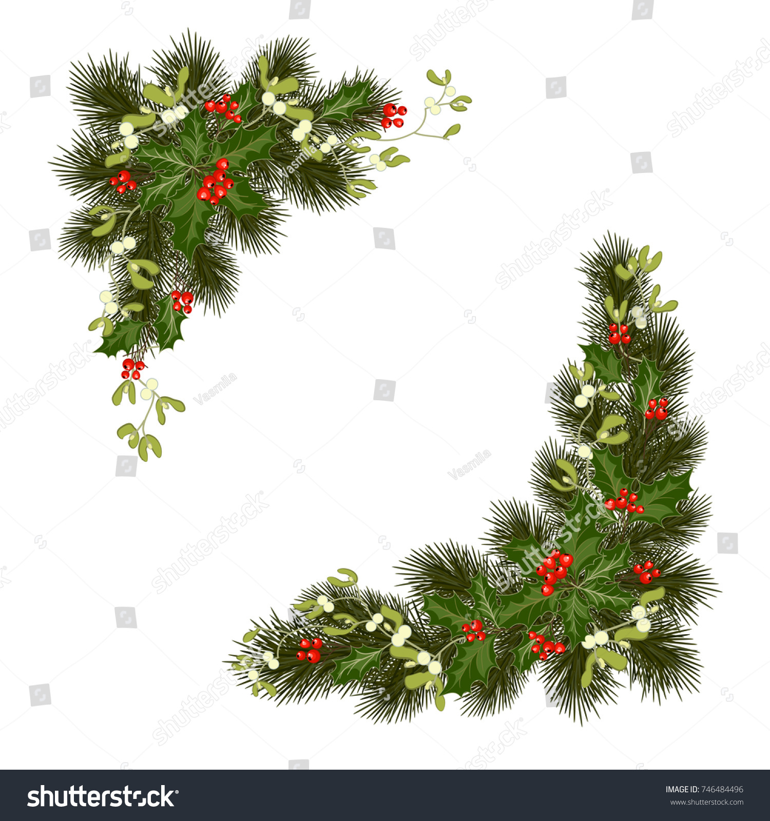 Christmas Tree Decoration Elements: Christmas Decorations Fir Tree Holly Berries Stock Vector