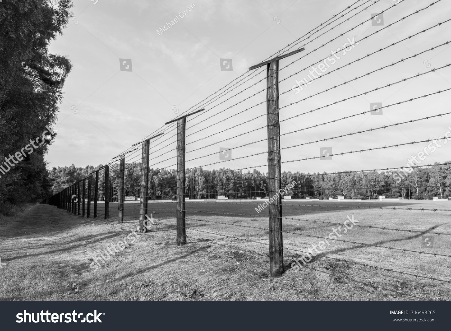Black White Concentration Camp Barbed Wire Stock Photo (Royalty Free ...
