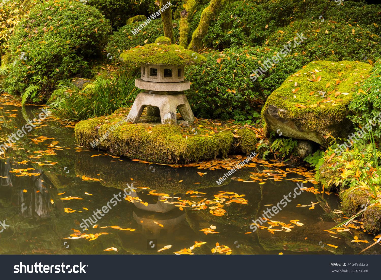 Japanese Zen Garden Water Pond Autumn Stock Photo (Royalty Free ...