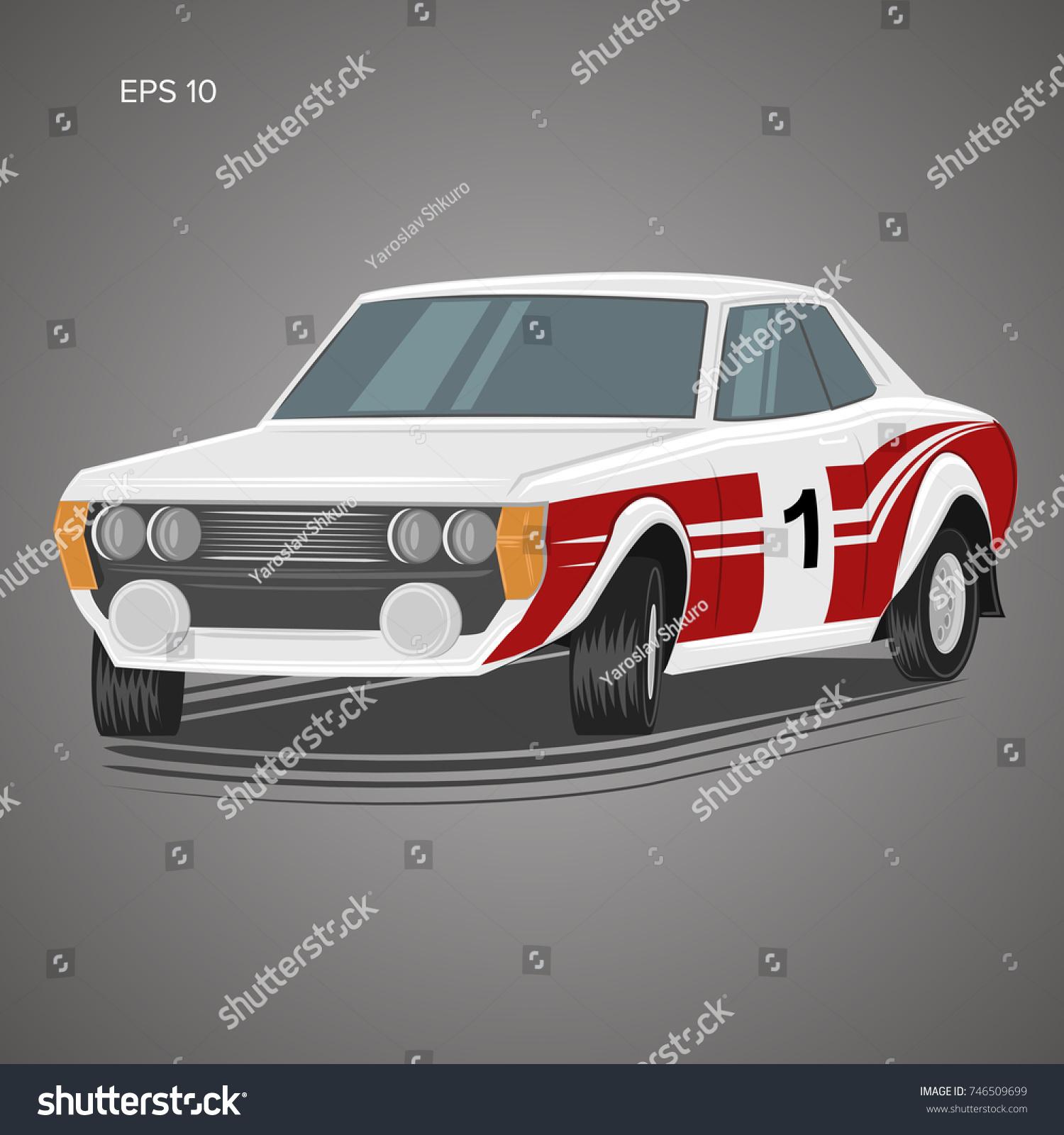 Old Retro Rally Car Vector Illustration Stock Vector 746509699 ...