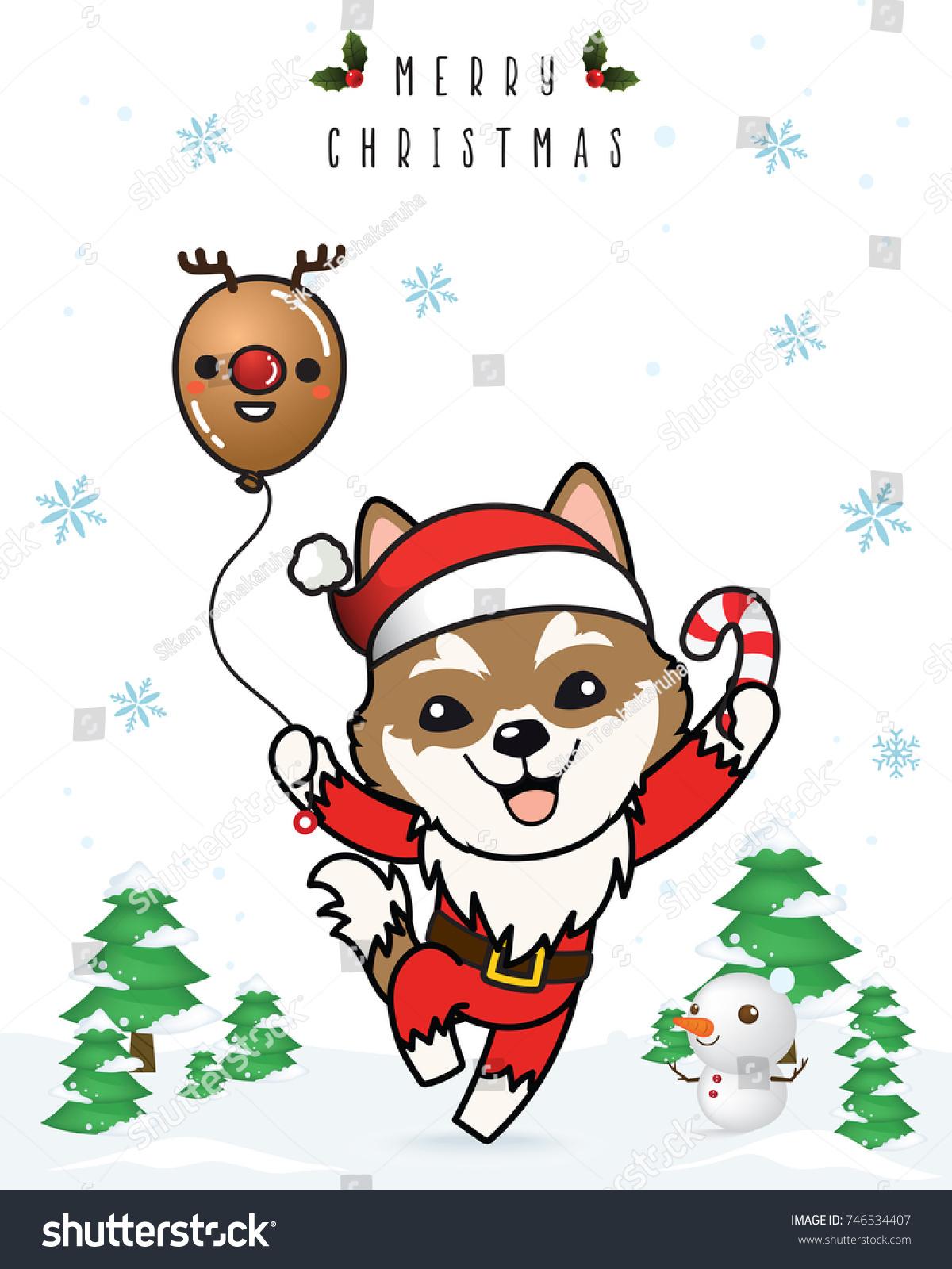 Vector Siberian Husky Dog Cartoon Christmas Stock Vector Royalty