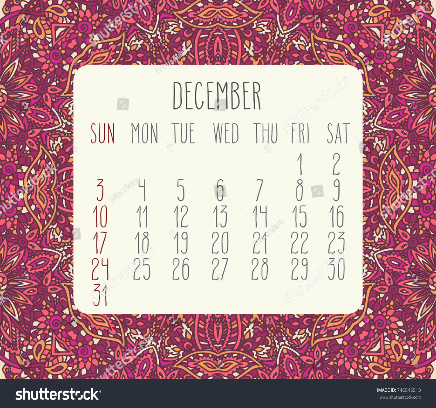 December 2017 Vector Calendar Over Pink Stock Vector ...