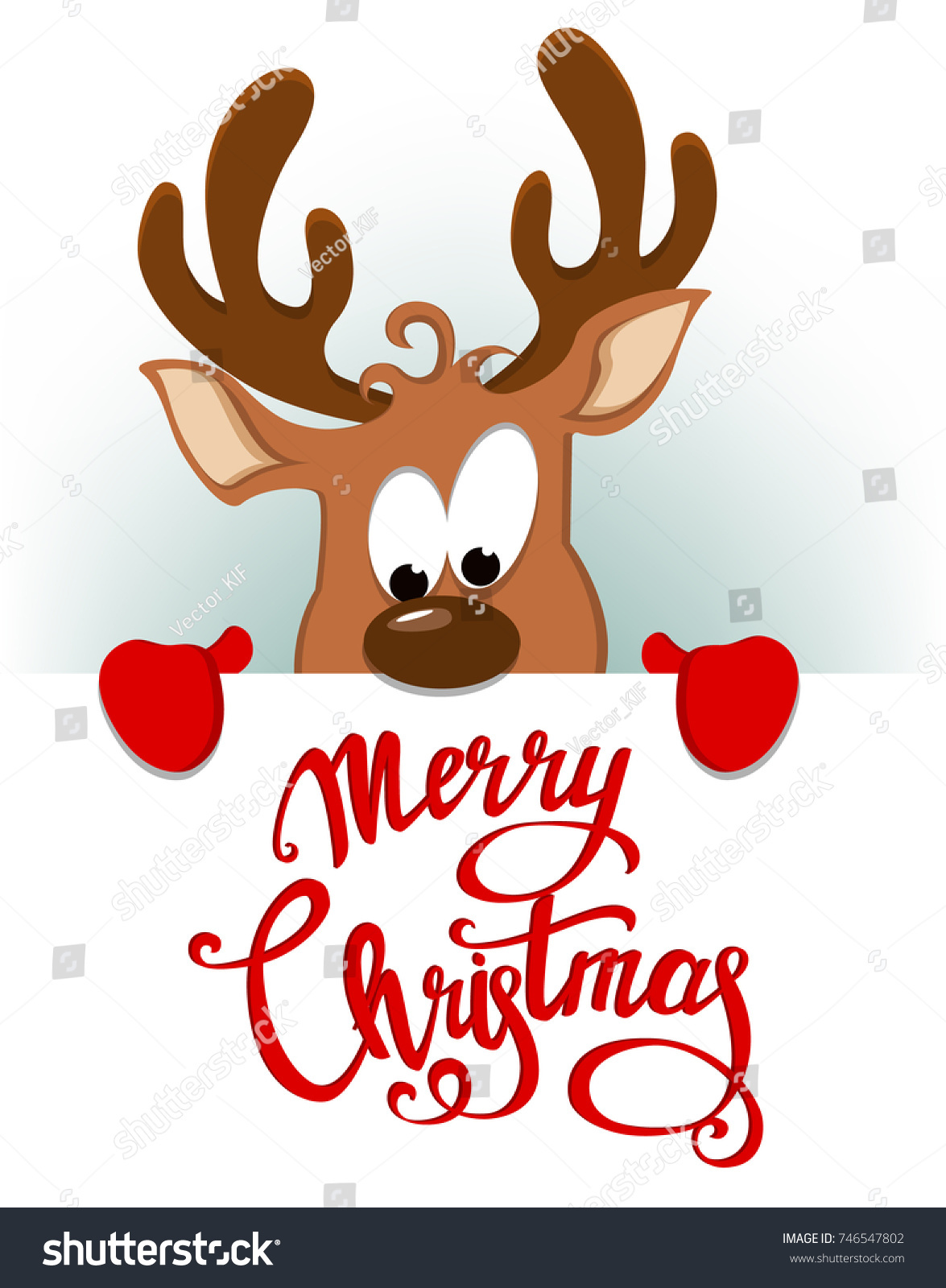 Merry Christmas Greeting Card Funny Deer Stock Illustration