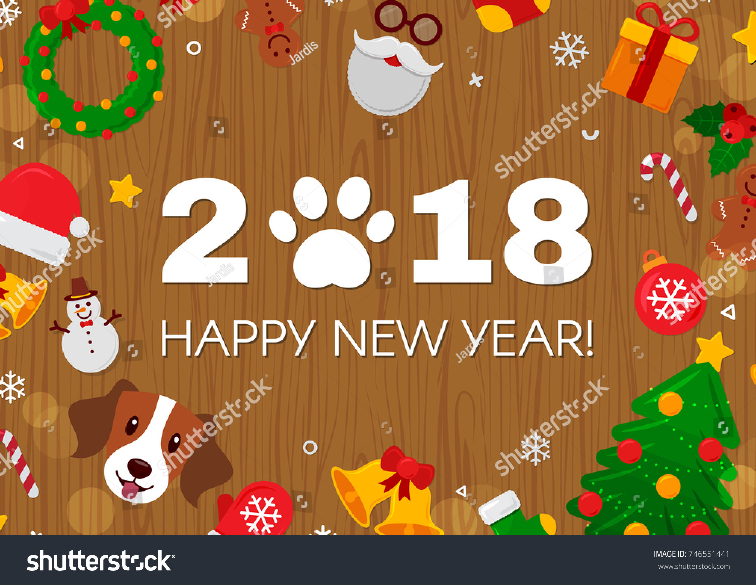 2018 happy new year greeting card with numbersdog paw print and flat icons stickers