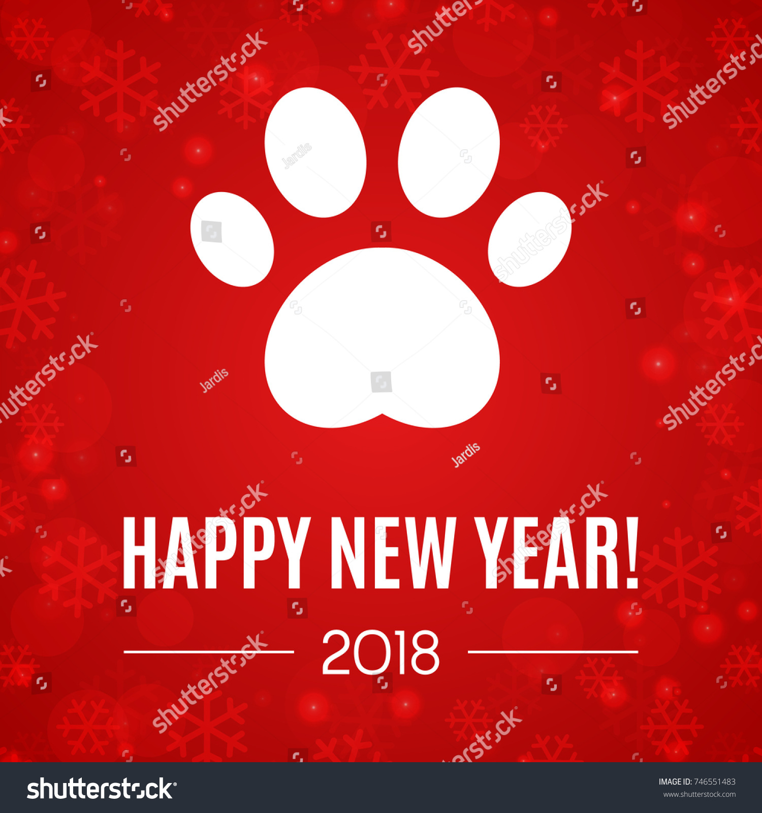 2018 new year greeting card with paw print vector illustration brochure design template