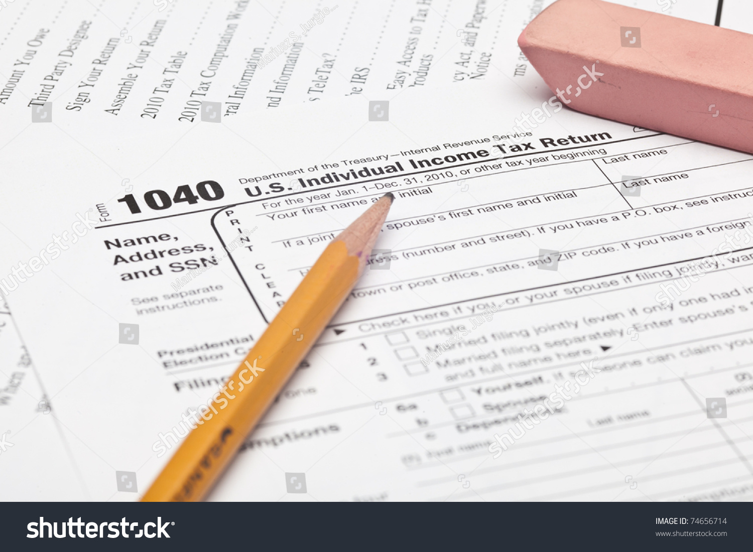 Form 1040 Us Individual Income Tax Stock Photo Royalty Free