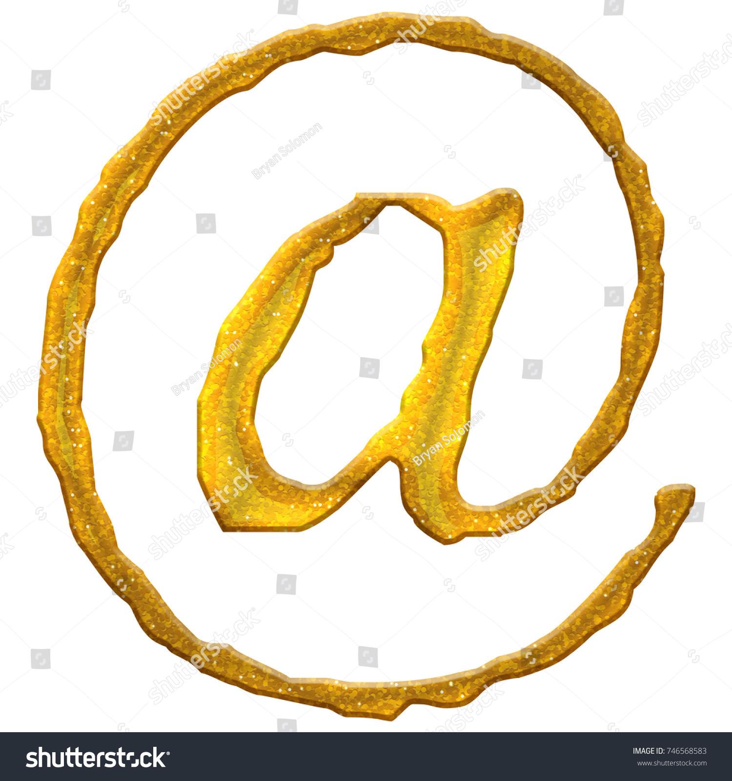 Golden Glittery Sign Email Address Symbol Stock Illustration