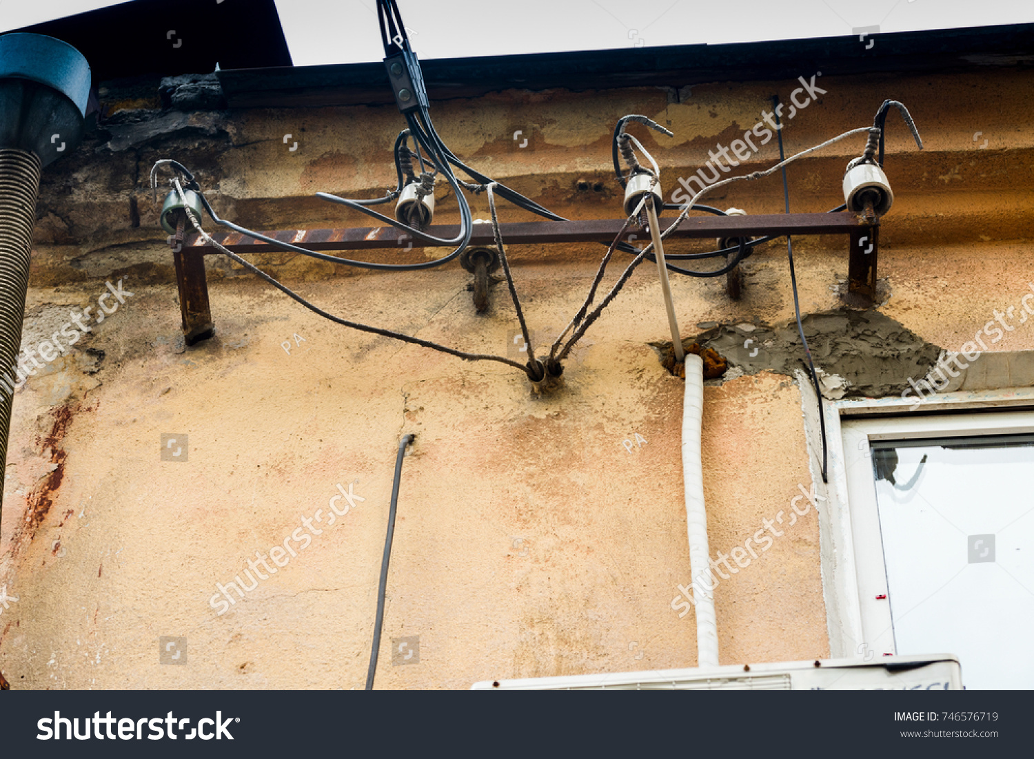 Outstanding Old Electrical Wires On Building Stock Photo Edit Now 746576719 Wiring Cloud Toolfoxcilixyz