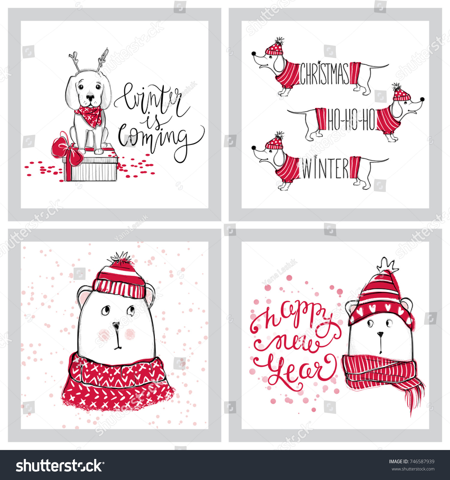 Merry Christmas 2018 Collection Cute Greeting Stock Vector (Royalty ...