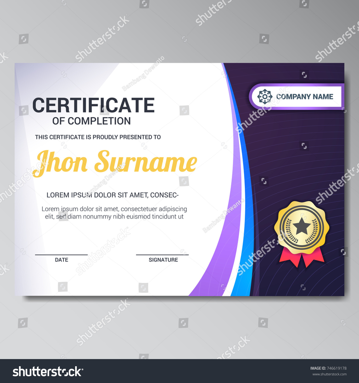 Modern Certificate Design Template Golden Star Stock Vector Royalty