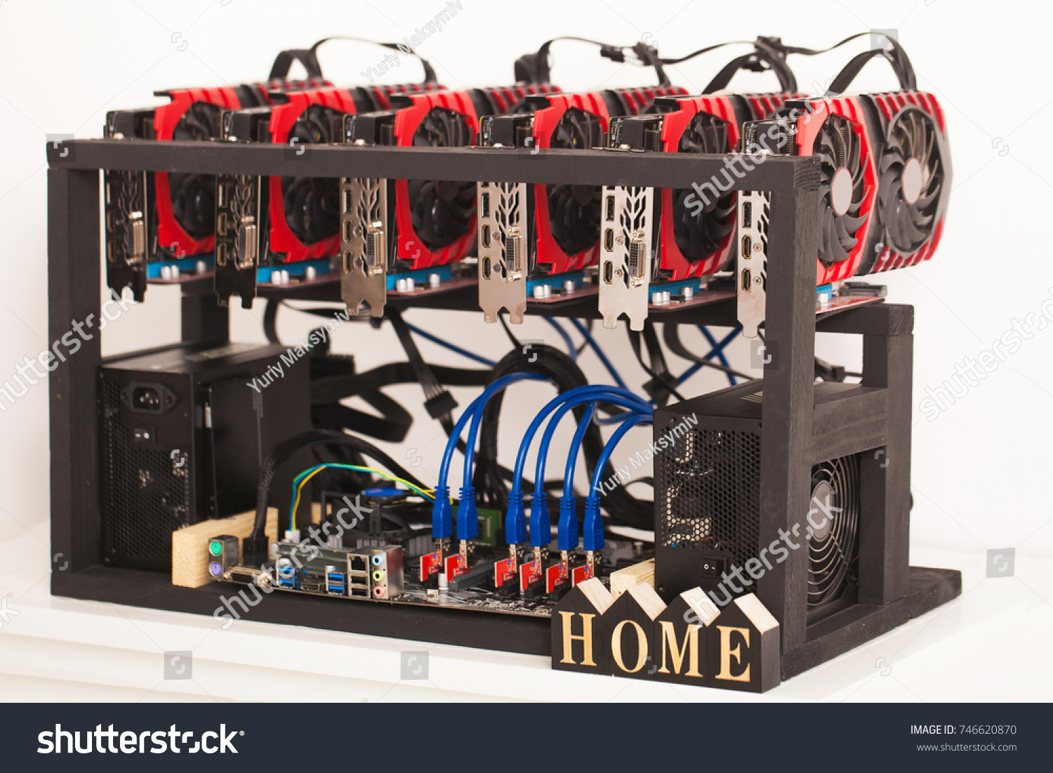 Working Graphic Video Cards Ecurrency Computer Stock Photo Edit Now Wiring Card For E Currency Bitcoin And Cryptocurrency Mining