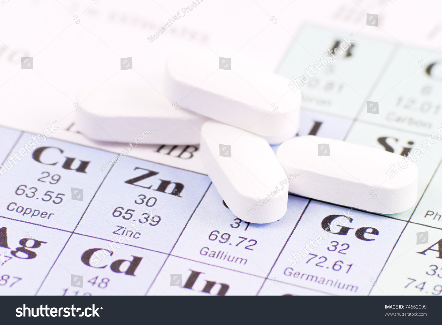 Zinc pill on periodic table elements stock photo 74662099 zinc pill on periodic table of elements gamestrikefo Gallery