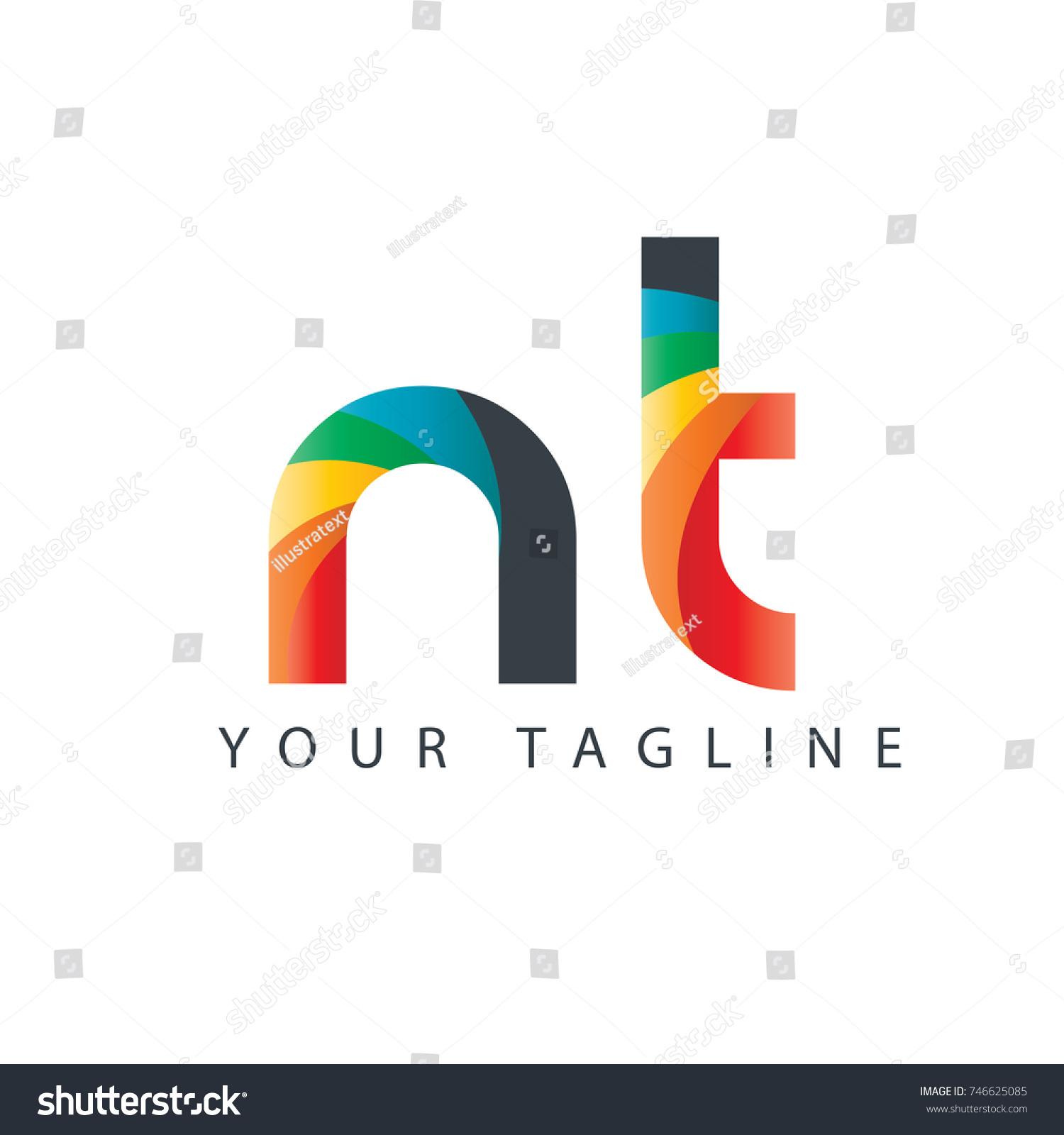 Initial Letter Nt Rounded Design Logo Stock Vector 746625085