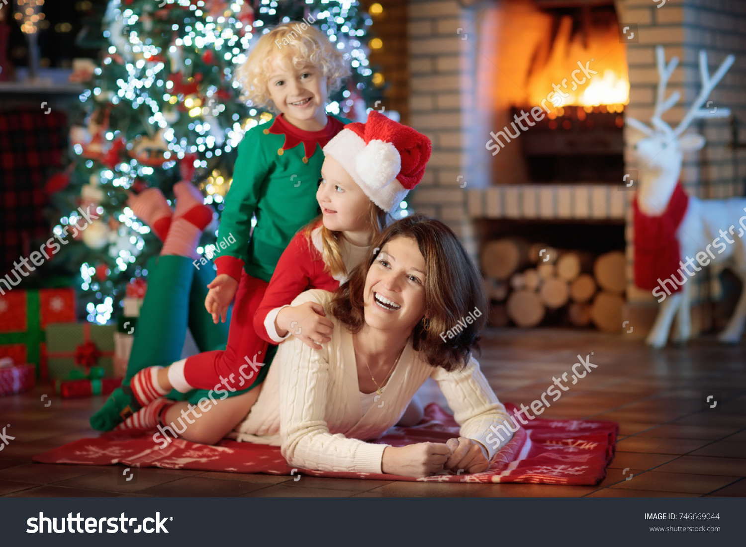 Family Kids Christmas Tree Fireplace Mother Stock Photo (Edit Now ...