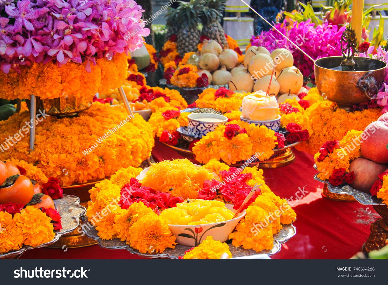 Making Offerings Sacrifice Spirits Fruit Dessert Stock Photo (Edit