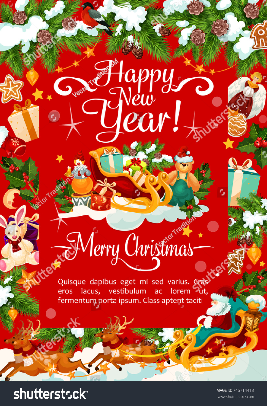 Happy New Year Merry Christmas Wish Stock Vector Royalty Free