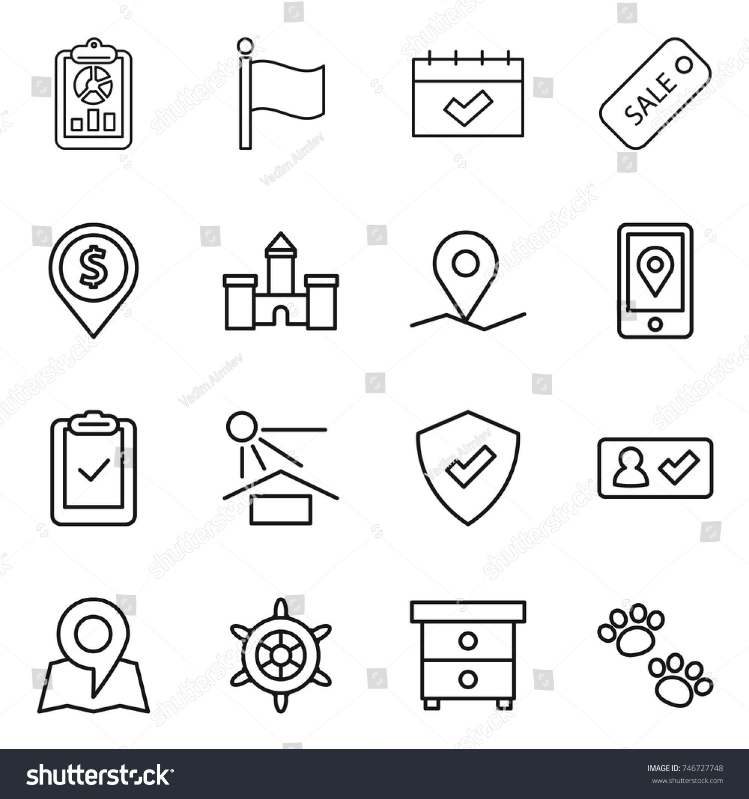 Thin line icon set report flag stock vector 746727748 shutterstock thin line icon set report flag calendar sale dollar pin biocorpaavc Image collections