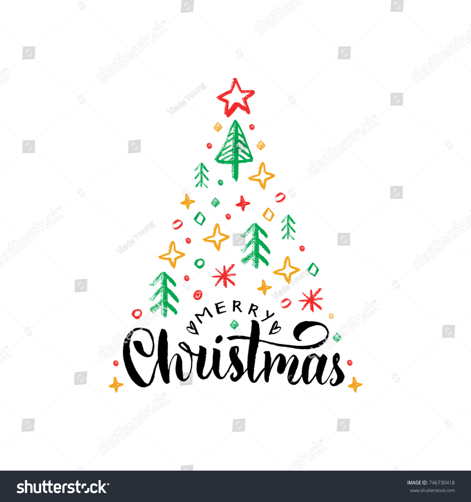 Merry Christmas Lettering On White Background Stock Vector (Royalty ...