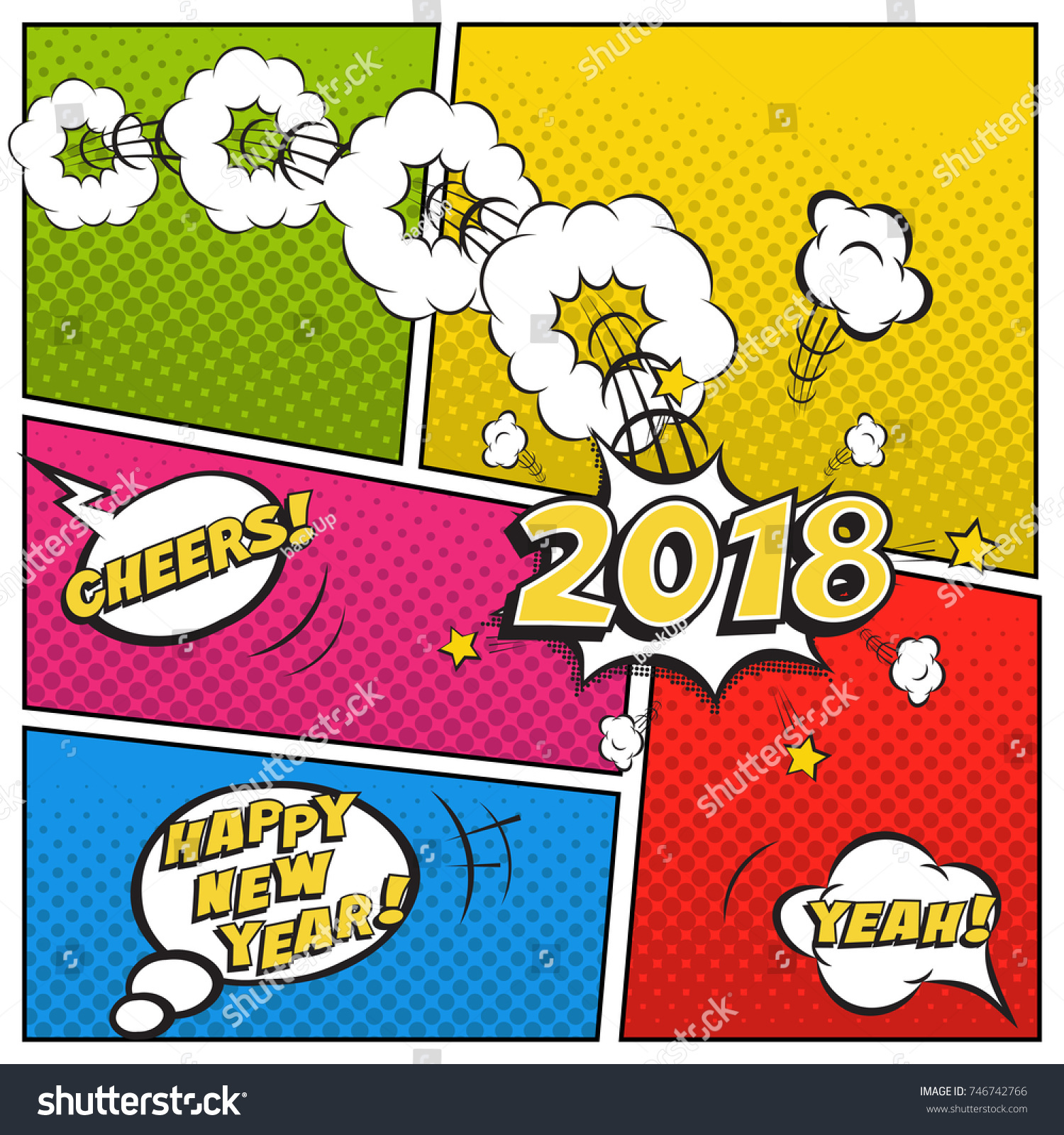 2018 new year comic book style stock vector 746742766 shutterstock 2018 new year comic book style postcard or greeting card template vector 2018 new year magicingreecefo Choice Image