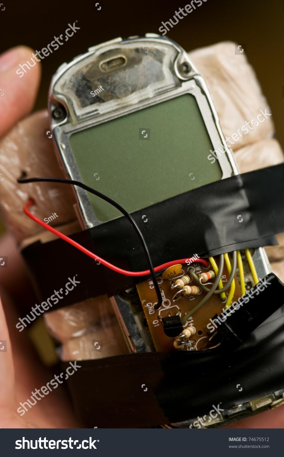 Homemade Bomb Mobile Phone Closeup Stock Photo Edit Now 74675512 Wwwhomemadeelectronicscom With
