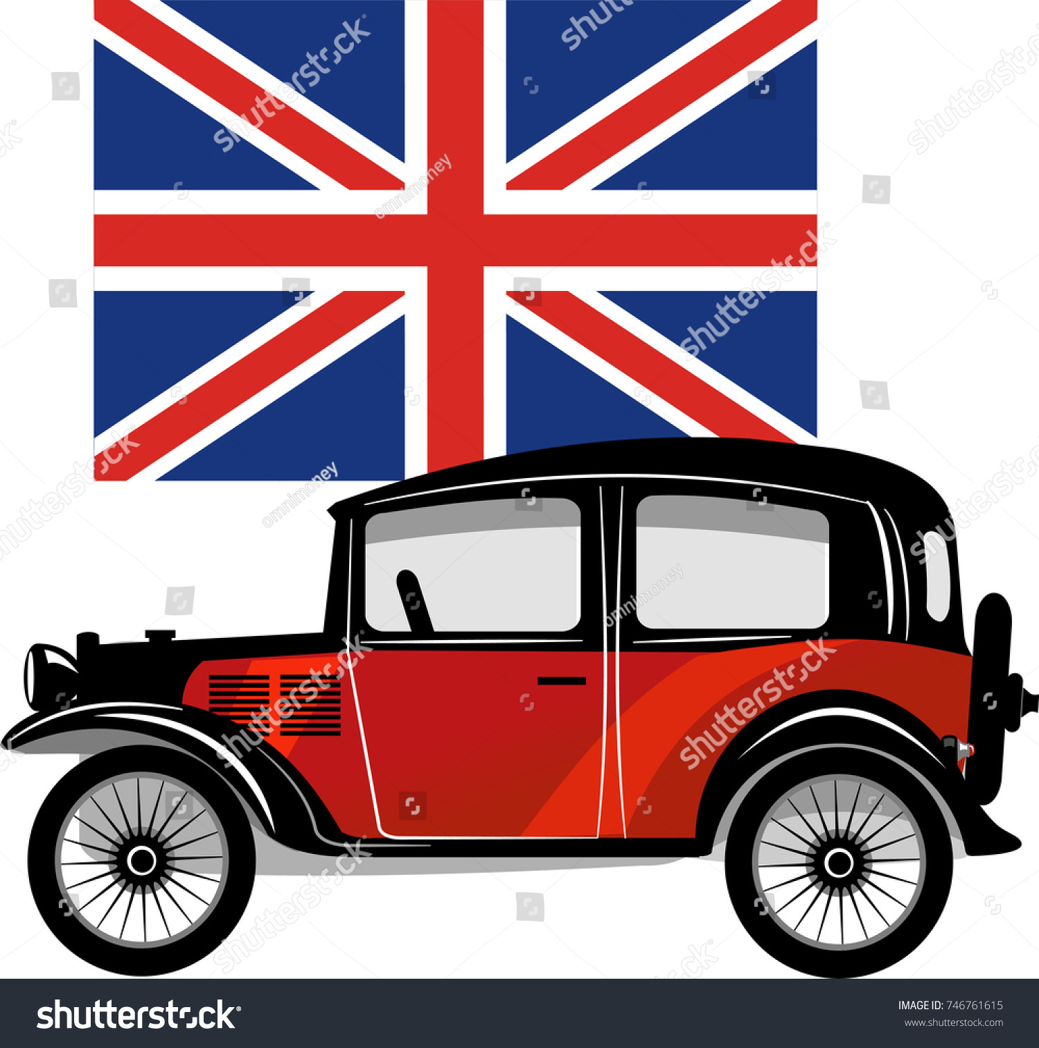 Old Small Car British Flag Stock Illustration 746761615 - Shutterstock