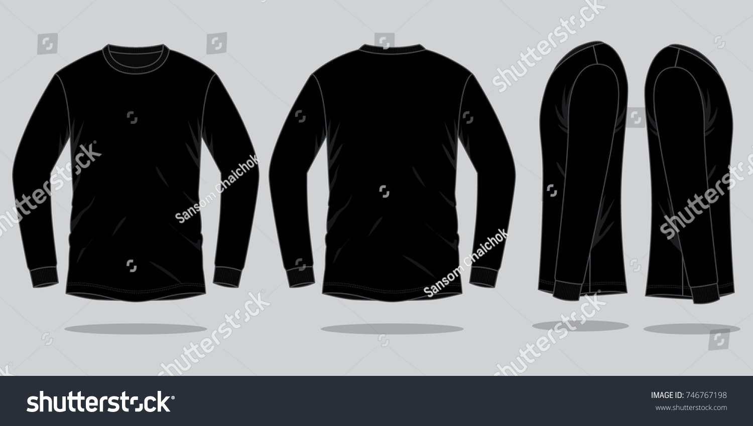 Black Long Sleeve T Shirt Template Stock Vector Royalty Free