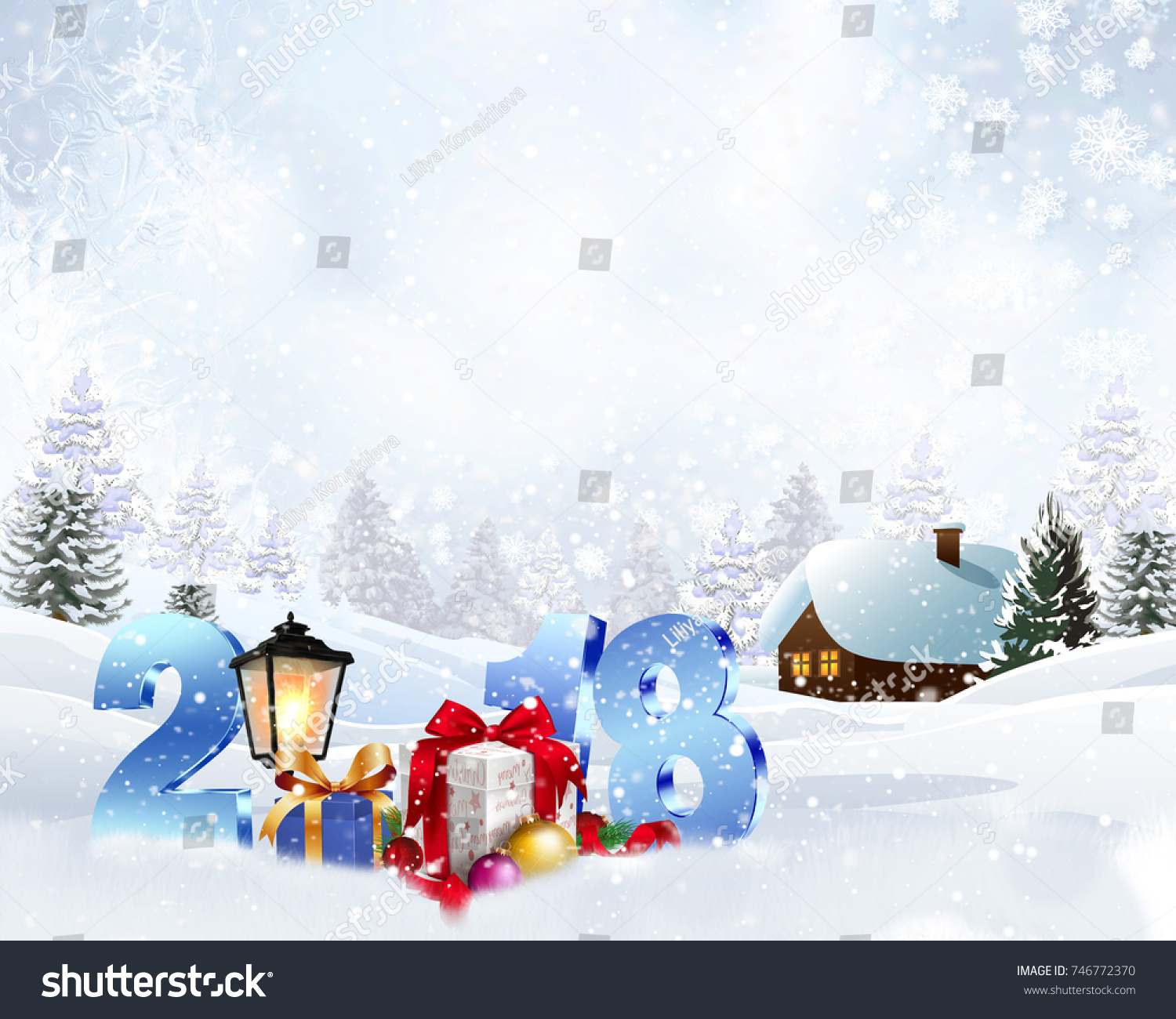 Winter Christmas Background Snowy House 2018 Stock Illustration ...