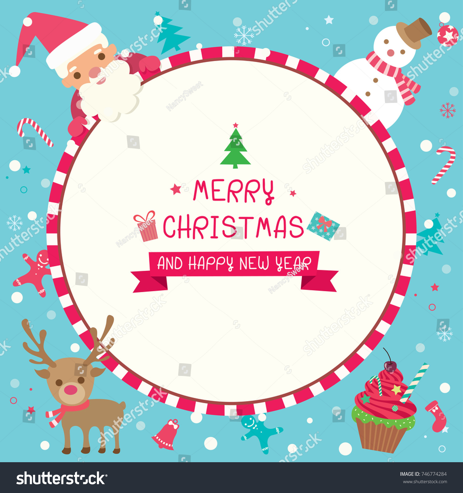 illustration vector of merry christmas and happy new year card design with santa claus snowman