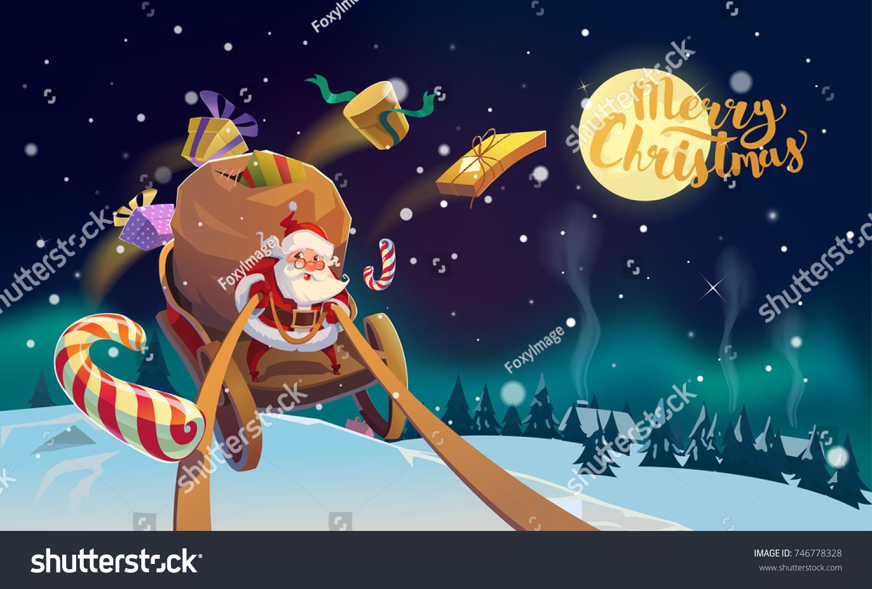 Christmas card greeting santa driving sleigh stock illustration christmas card greeting with santa driving sleigh over the snowy landscape with full moon and text kristyandbryce Choice Image