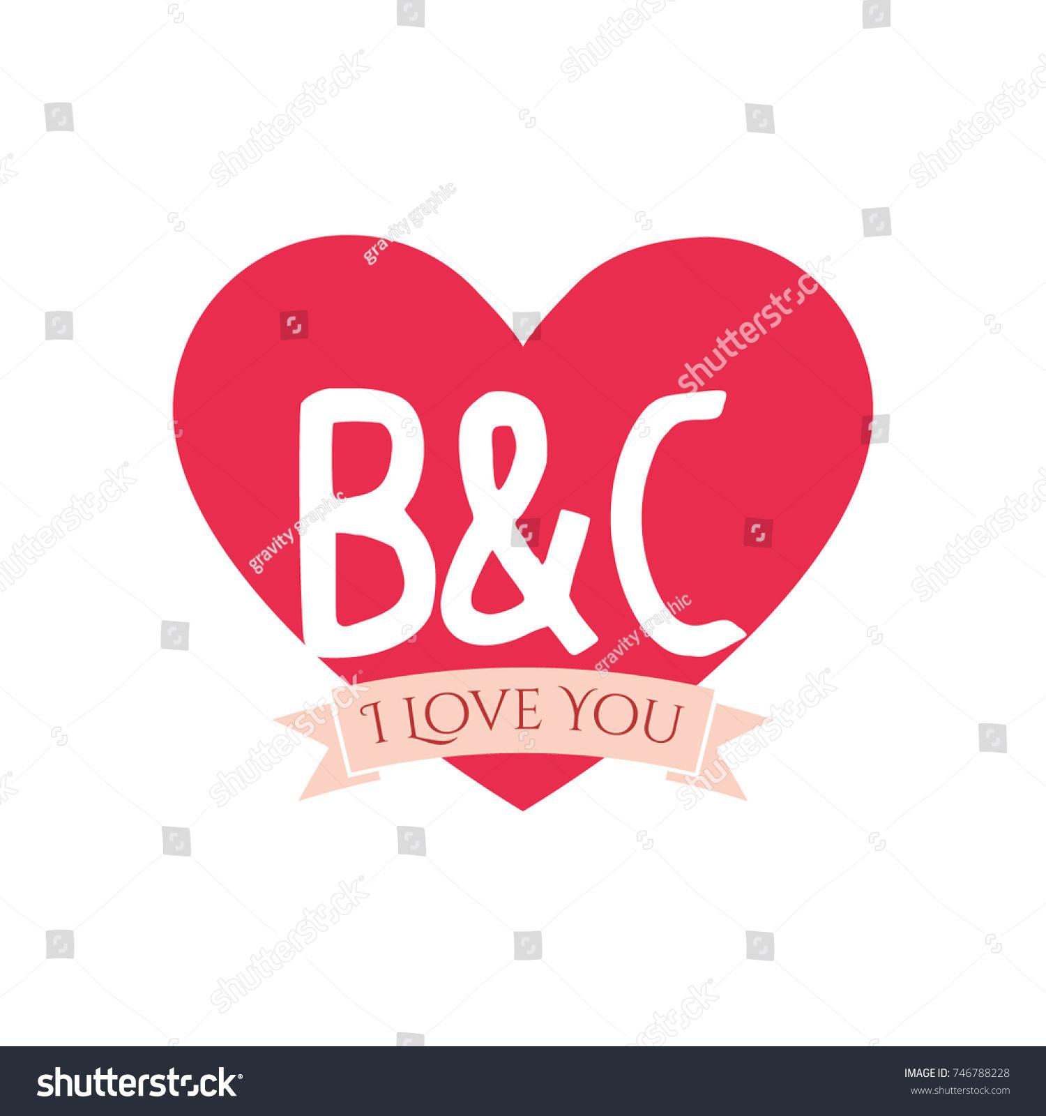B C Letter Inside Heart St Stock Vector Royalty Free 746788228