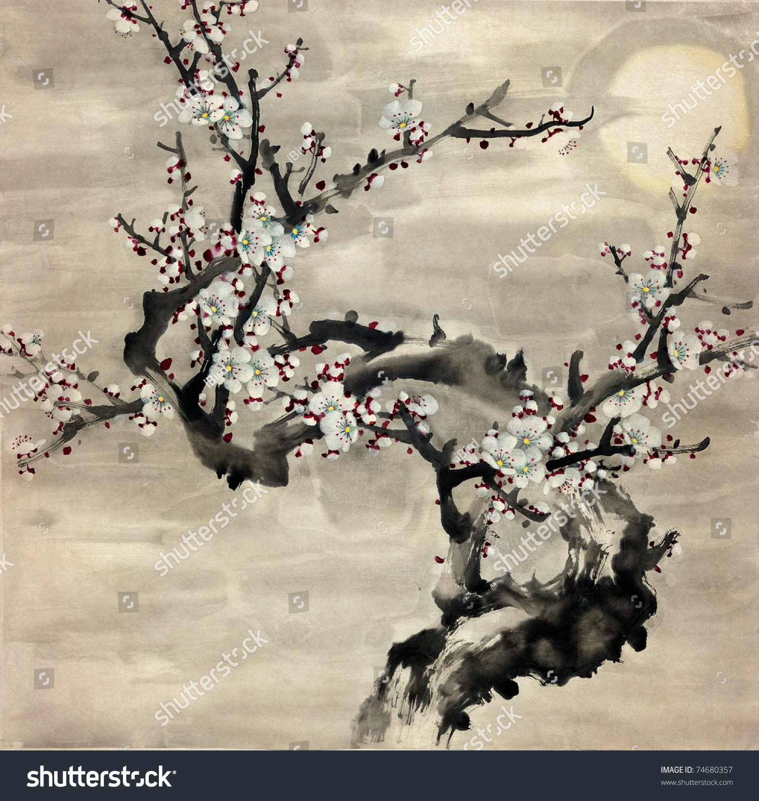 Plum Blossom Traditional Chinese Painting Stock