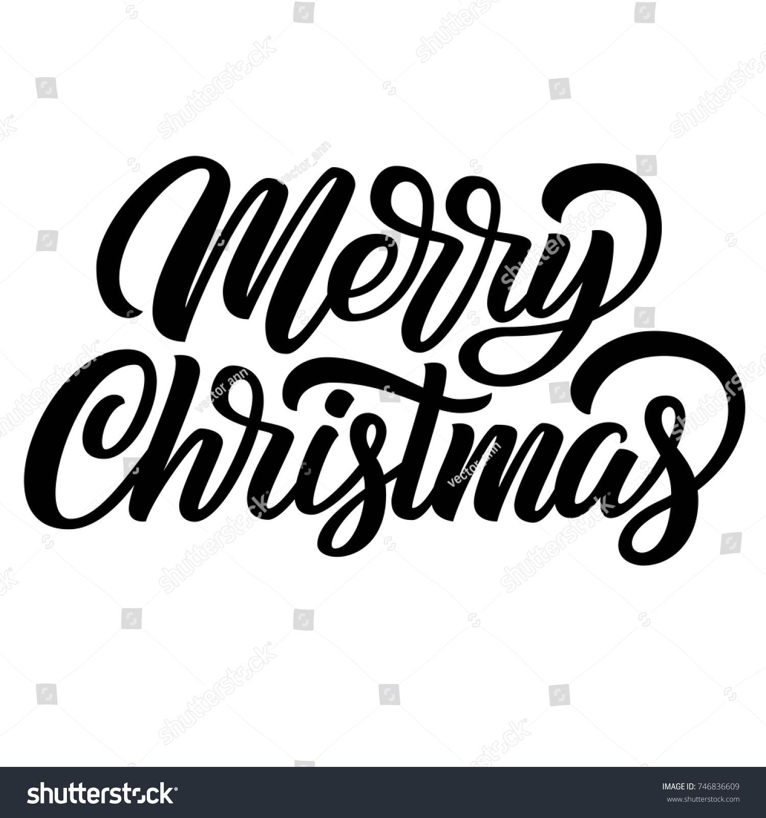 Merry Christmas black ink brush hand lettering isolated on white ...