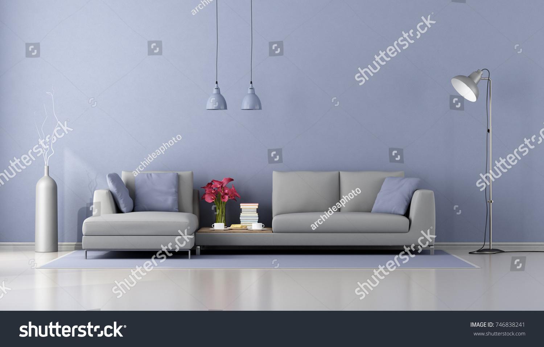 Minimalist Living Room Modern Gray Sofa Stock Illustration