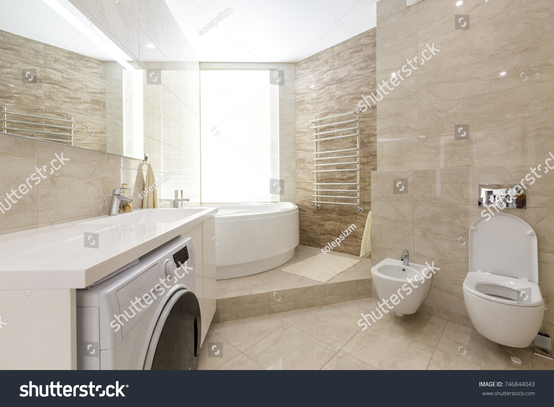 Brand New Bathroom Interior Design Luxury Stock Photo (Royalty Free ...