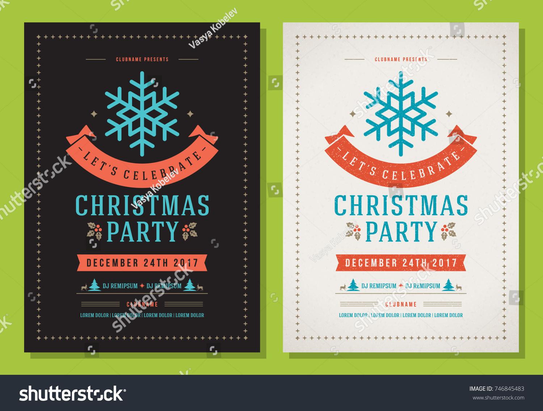 Christmas Party Invitation Retro Typography Decoration Stock Vector ...