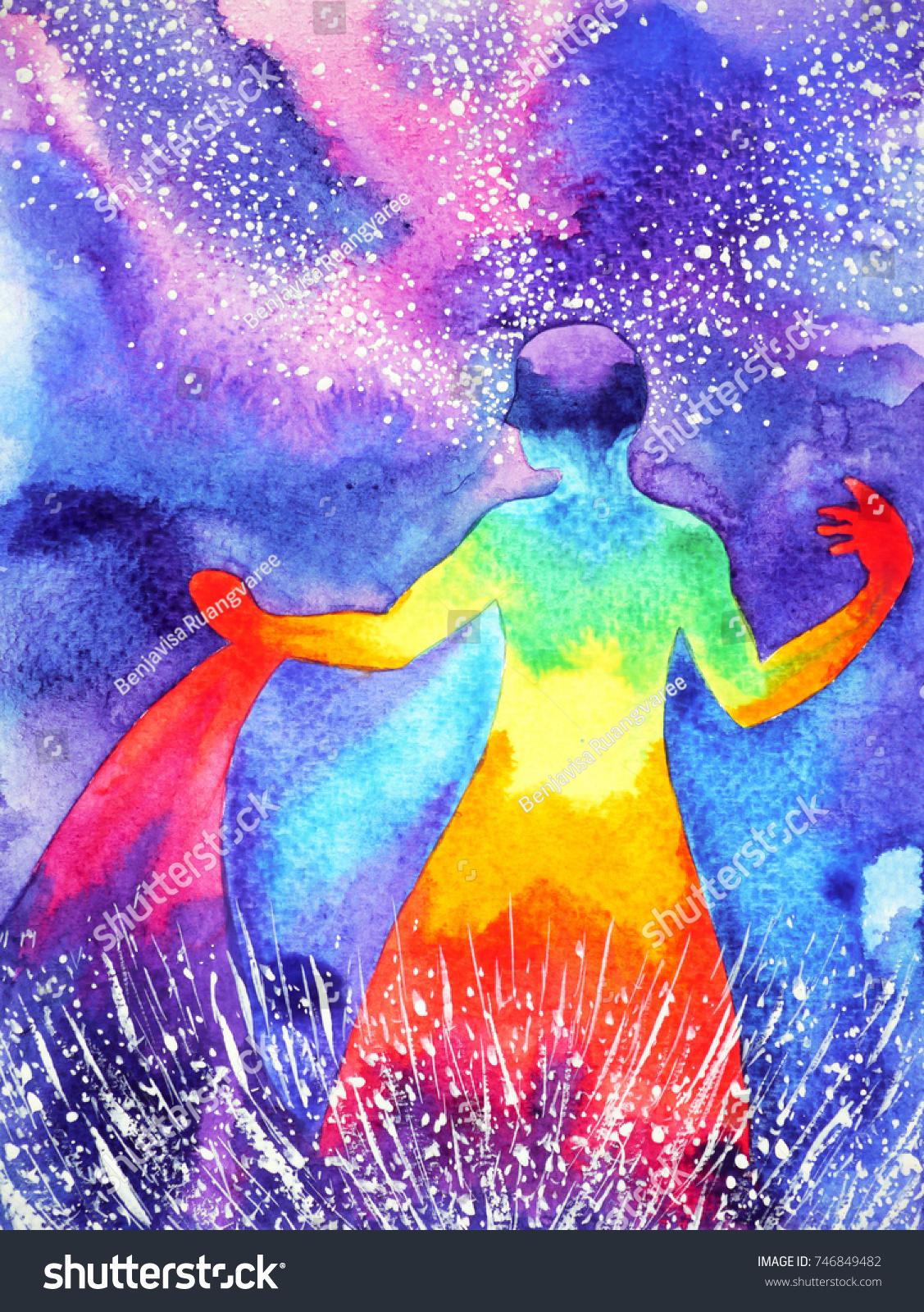 Très Power Human Watercolor Painting Chakra Reiki Stock Illustration  UT06