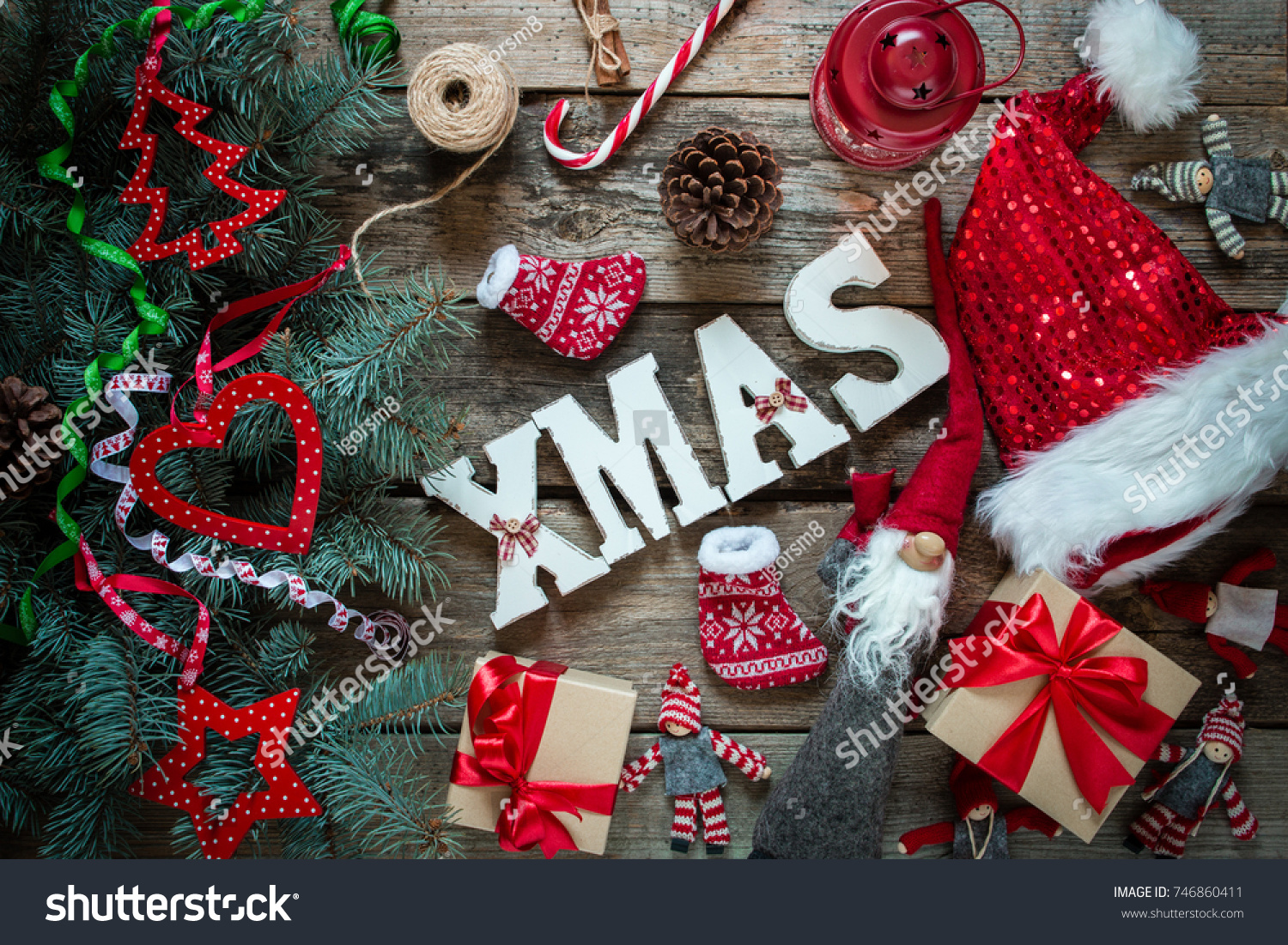 Merry Xmas Gifts Symbols Christmas Gifts Stock Photo Edit Now