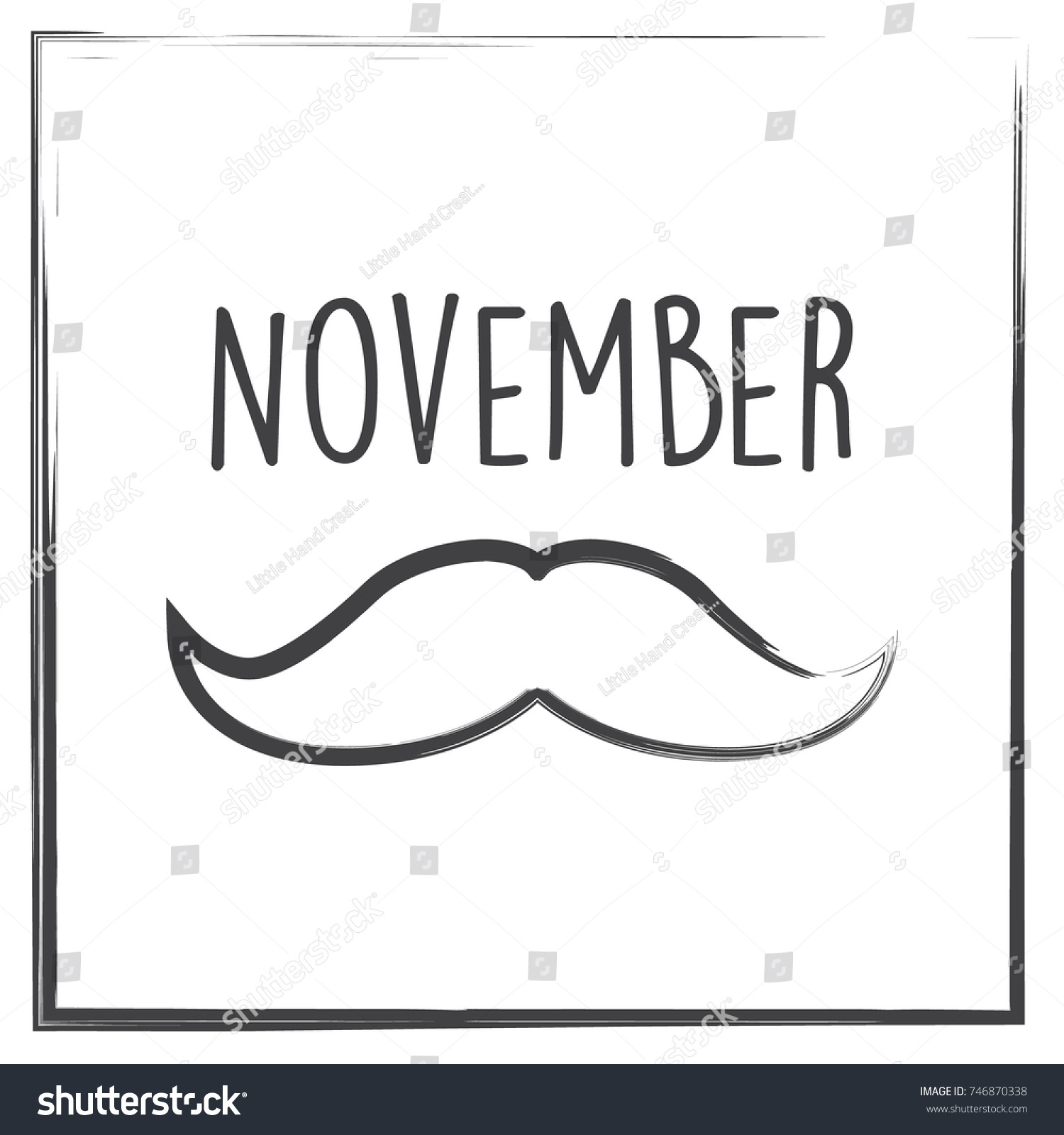November Month Vector Illustration Text Border Stock Vector Royalty