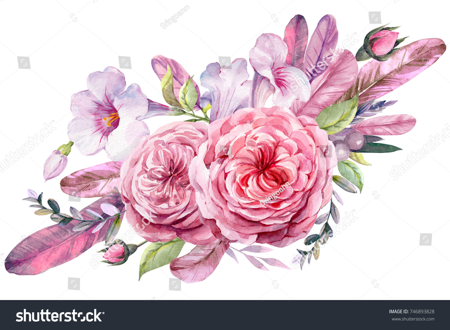 Wedding flowers bridal bouquet closeup bouquet stock illustration wedding flowers bridal bouquet closeup bouquet of roses feathers leaves illustration in izmirmasajfo